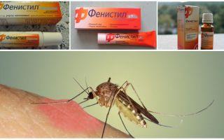 Gel Fenistil von Mückenstichen: Anweisungen, Bewertungen und Analoga
